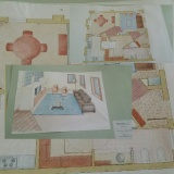 Disegni/prospettive realizzate su cartoncino utilizzando matite colorate