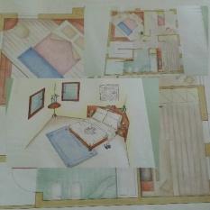 Disegni/prospettive realizzate a mano su cartoncini con utilizzo di matite colorate