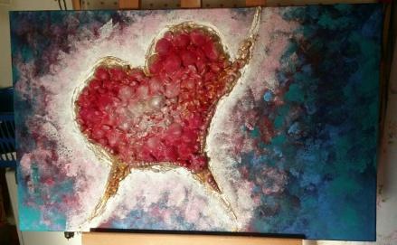 mare, amore, cuore, disegno, quadro, innamorarsi