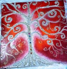 Quadro acrilico con malte strutturali, glitter, strass - 50x50x2