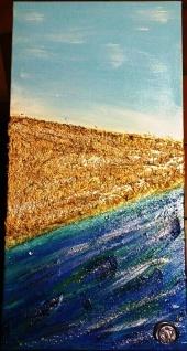 Quadro acrilico con paste strutturali glitter e swaroski - 30x90x2 cm