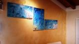 Quadro in acrilico con malte strutturali, conchiglie, glitter e swaroski - 210x90x2 cm